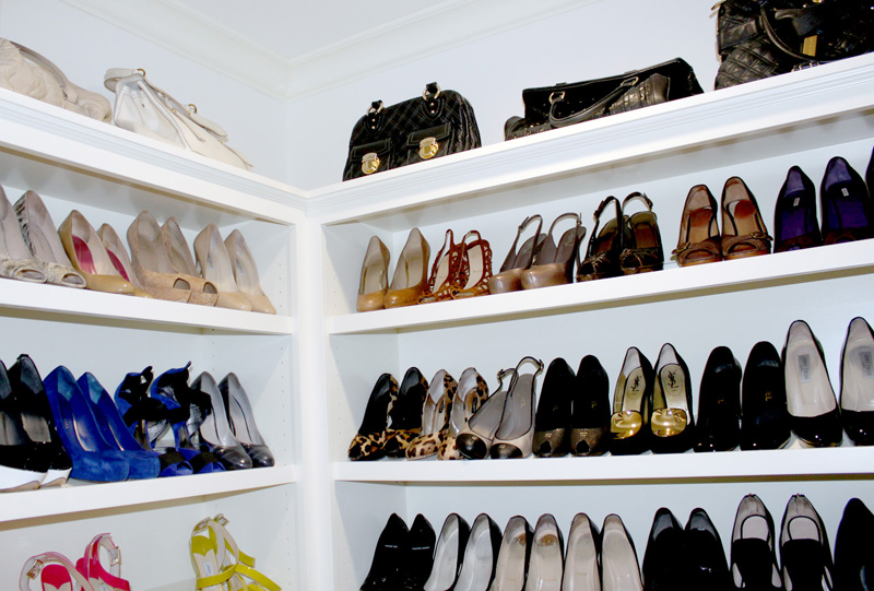 Details for her custom cabinetry for shoes jewelry for Building a shoe closet