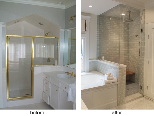 Master bathroom remodel before after