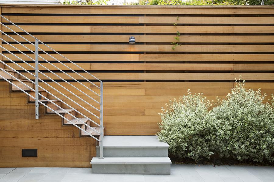 Cedar privacy fence galvanized steel railings